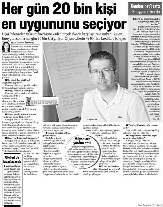 Çağlar Erol Star Gazetesi röportaj